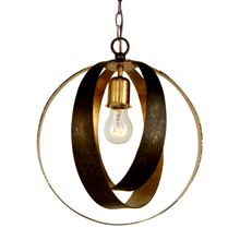 Crystorama 580-EB-GA - 1 Light English Bronze + Antique Gold Industrial Mini Chandelier