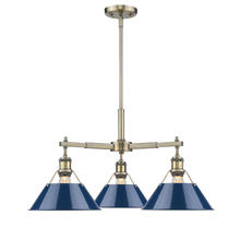 Golden 3306-D3 AB-NVY - 3 Light Nook Chandelier