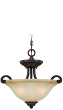 Craftmade 28253-ABZG - Josephine 3 Light Convertible Semi Flush/Pendant in Antique Bronze/Gold Accents