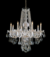 Crystorama 1108-CH-CL-MWP - 8 Light Polished Chrome Crystal Chandelier Draped In Clear Hand Cut Crystal