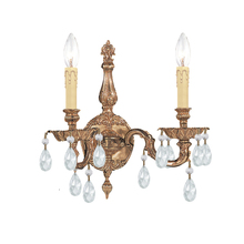Crystorama 2502-OB-CL-MWP - 2 Light Olde Brass Traditional Sconce Draped In Clear Hand Cut Crystal