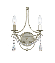 Crystorama 412-SA-CL-SAQ - 2 Light Antique Silver Modern Sconce Draped In Clear Spectra Crystal