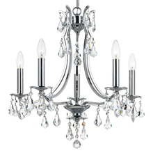 Crystorama 5935-CH-CL-MWP - 5 Light Polished Chrome Crystal Mini Chandelier Draped In Clear Hand Cut Crystal