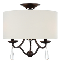 Crystorama 5973-EB_CEILING - 3 Light English Bronze Transitional Ceiling Mount Draped In Optical Crystal