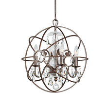 Crystorama 9025-EB-CL-MWP - Crystorama Solaris 4 Light Clear Crystal Bronze Mini Chandelier