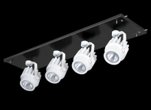 RAB Lighting MDLED4X12D10-30YY-B-W - MULTI 4X12W LED 27K 30DEG BLK GEAR TRAY WH HEAD 0-10V DIM