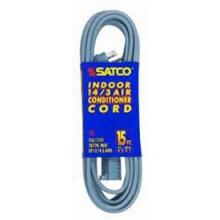 Satco Products Inc. 93/5001 - #14/3 Ga. Spt-3 Gray Air Conditioner/Appliance Cords 6 Ft. 14-3 Spt-3 Gray Cord W/Sleeve 15A/125V 18