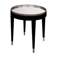 Sterling Industries 6042287 - Black Tie Table In Black With Chrome And Clear Mirror Top