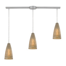 ELK Lighting 10249/3L - Mickley 3 Light Pendant In Satin Nickel And Ambe