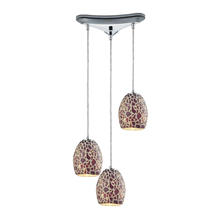 ELK Lighting 10429/3 - Glass Mosaic 3 Light Pendant In Polished Chrome