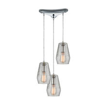 ELK Lighting 10523/3 - Ribbed Glass 3 Light Pendant In Polished Chrome